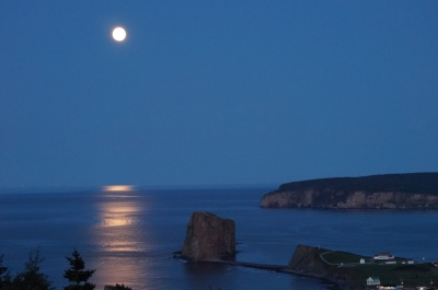 Super moon over Perce Rock